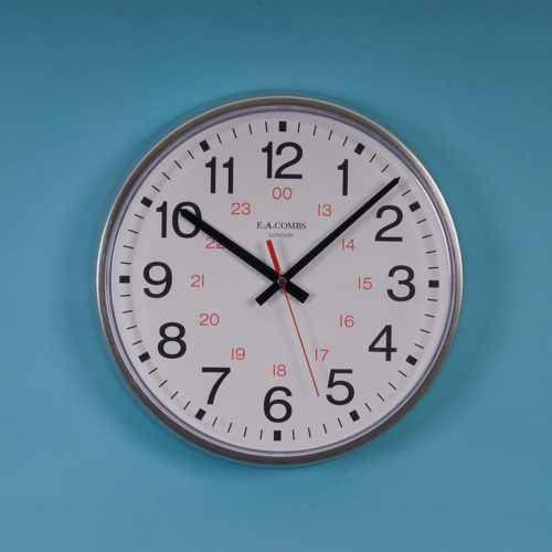 Silver Metal-cased 24hr Dial Wall Clock 6413.24