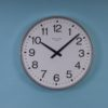 Image of EA Combs analogue clocks: Large Silver Metal-cased Wall Clock 6423